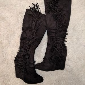 Black suede knee-high wedge boots